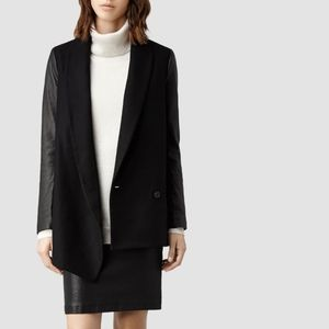 All Saints leather and wool Emery blazer coat